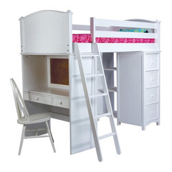 Bolton Furniture - Cooley Sleep Study and Storage Twin Loft - VER080 - Shop for Bunk Beds from Hayneedle.com! Perfect for sleep play or study the Cooley Sleep Study and Storage Twin Loft is designed to meet all your child's needs. It's a versatile space-saving unit for kids of almost any age. One end features a 4-drawer dresser and a 3-shelf bookcase while the other end features a study desk with a pull-out keyboard shelf and a utensil drawer. And because we know you have great taste we want you to choose from two stylish finishes that match your decor. This loft is easy to keep looking like new; simply use warm water and mild soap. About the Manufacturer:Bolton Furniture is proud to offer consumers quality wood pieces at affordable prices and has done so since the 1900s. Each piece is carefully crafted--from the beginning stages of kiln drying to the packaging of the finished product. Having specialized in the detailed wood-craftsmanship of musical instruments Bolton Furniture perfected woodworking in the 1970s. This means that their furniture pieces are created with extreme attention to detail and superior precision. Bolton Furniture's reputation is built on its products - durable lasting and beautiful. Please note: Bunk beds and loft beds are only to be used by children 6 years of age or older.
