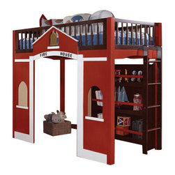 "Acme - Fola Espresso and Red Finish Wood Fire House Design Loft Bed - Fola espresso and red finish wood Fire house design loft bed with storage shelves. This set features a Twin top loft bed and storage shelves and play area underneath the loft bed. Measures 82"" x 42"" x 67""H. Some assembly required."