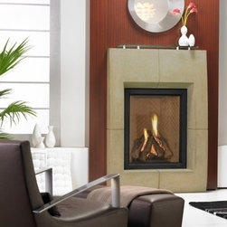 Heat & Glo Everest - The Everest provides a fresh, welcomed look in gas fireplaces. It's handsome, upright design is bolstered by impressive flames and powerful heating performance.
