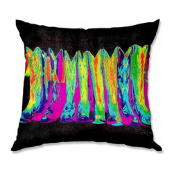 DiaNoche Designs - Pillow Woven Poplin by Lisa K. Stokes Retro Boots I - Toss this decorative pillow on any bed, sofa or chair, and add personality to your chic and stylish decor. Lay your head against your new art and relax! Made of woven Poly-Poplin.  Includes a cushy supportive pillow insert, zipped inside. Dye Sublimation printing adheres the ink to the material for long life and durability. Double Sided Print, Machine Washable, Product may vary slightly from image.