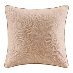 Harbor House - Harbor House Belcourt Square Pillow with embroidery - The Harbor House Belcourt Collection gives a worldly look to your bedroom with its oversized paisley design. This cotton quilted square pillow provides a solid khaki addition to your bedding set. Body: 100% cotton quilted and pre-washed Filling: 100% poly