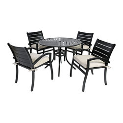 "Modern 5pc Dining Set with Cushions, Black - The Modern Collection 5pc Dining Set includes 4 arm chairs and one 42"" table. Featuring a contemporary design, durable aluminum construction, black powder coat finish, and all-weather cushions, this collection can rejuvenate any outdoor living space while providing exceptional comfort."