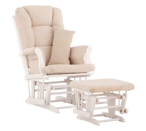 Stork Craft - Stork Craft Tuscany Glider and Ottoman with Free Lumbar Pillow in White with Bei - Stork Craft - Rocking Chairs Rockers - 06554511 - Available in 6 wood finishes and 4 fabric combinations to create your own custom Tuscany Glider and Ottoman. The Stork Craft Tuscany Glider and Ottoman set offers gentle motion while feeding your baby in those early morning hours. Featuring a solid construction with a magical sleigh design this is a royal centerpiece for your nursery. The enclosed metal ball-bearings allow for an incredibly smooth motion to glide your baby back to sleep. Micro fiber spot-cleanable cushions ease the worry about spills while the construction offers an exquisite finish you'll appreciate far beyond the baby years. The Tuscany Glider comes with a matching soft plush lumbar support pillow for supporting your baby during feeding times.