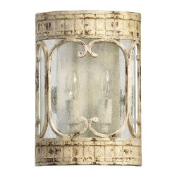 Quorum International - Quorum International 5637-2 2 Light Wall Washer from the Florence Collection - Transitional 2 Light Wall Washer from the Florence CollectionAdd some old world styling to your walls with this two light wall sconce from the Florence collection. A wall-hugger profile is paired with a Persian White finish and clear seeded glass while decorative lines dance across the front. 120 watts of bright light will liven up your foyer, hallway, or other area for years to come.Features: