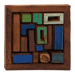 Like Tetris Wood Teak Wall Plaque - Description: