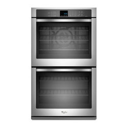 "Whirlpool - WOD93EC0AS 30"" Double Electric Wall Oven With 5.0 Cu. Ft. Per Oven  Self-Clean - The Whirlpool WOD93EC0AX 100 Cu Ft double electric wall oven seals in flavors and juices with TimeSavor Ultra true convection Using a rear fan and a third heating element to distribute heated air in four directions this double wall oven achieves bett..."