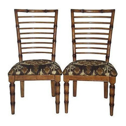 Vintage Bamboo Ikat Side Chairs - A Pair - $1,000 Est. Retail - $815 on Chairish -
