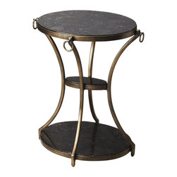 "Butler Specialty - Butler Oval Accent Table - Butler Oval Accent Table Round Iron Bar, Rainbow Shell 22""W x 17""D x 26.5""H"