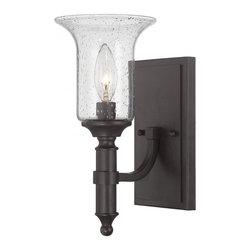 Joshua Marshal - One Light English Bronze Seeded Glass Wall Light - One Light English Bronze Seeded Glass Wall Light