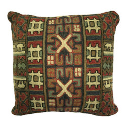 """Interior Nature - Crewel Pillow, Tribal Pillow, Rug Fragment Pillow - Are you designing a global room with a mix of tribal and elegant accents?  This pillow is for you. The rich natural dyes in deep reds, blues, and tans are earthy and natural feeling. It has both curves and linear elements to complement a wide range of designs. Antique Wool Crewel Rug Fragment with 100% cotton back. Zipper closure. This is a gently used pillow with a brand new feather/down insert. Back side has barely visible stains from natural dyes along edges (see photo). 15"""" x 15""""."""