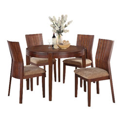 "Acme - 5-Piece Mauro Contemporary Country Kitchen Style Collection Dining Table Set - 5-Piece Mauro contemporary country kitchen style collection dark brown finish wood 4 leg round dining table set with fabric upholstered chairs. This set includes the Table, 4 - side chairs. Additional chairs also available separately at additional cost. Table measures 42"" Dia. Side chairs measure 39"" H to the back. Some assembly required."