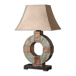 Uttermost - Slate Rustic Round Table Lamp - The  Slate  rustic  table  lamp  is  made  of  real,  hand  carved  slate  with  hammered  copper  details.  Because  each  material  used  is  natural,  each  piece  will  vary,  making  each  lamp  different  and  unique.  The  rectangle  bell  shade  has  a  brushed  sueded,  weather  resistant  textile.  This  lamp  will  be  a  favorite,  indoors  or  outdoors,  for  friends  and  family.  Click  here  to  see  more  of  our  favorite  rustic  table  lamps.