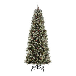 Home Decorators Collection - Slim Dunhill Fir Pre-Lit Artificial Christmas Tree - Our Slim Dunhill Fir Pre-Lit Artificial Christmas Tree features hinged branches with snow, red berries, cones and clear lights. The full, lush branch tips make holiday decorating easy for the whole family. This slim pre-lit tree is the perfect size for a smaller space. Ready-lit lights; 7'H tree has 450 lights, 9'H tree has 650 lights. Hook-on, hinged and wrapped construction. Made of flame resistant materials.
