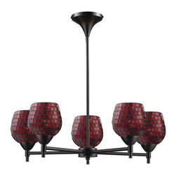 Elk Lighting - Elk Lighting Celina 5-Light Chandelier in Dark Rust & Copper Glass - 5-Light Chandelier in Dark Rust & Copper Glass belongs to Celina Collection by Designed To Showcase Our Many Blown Glass Options, The Celina Collection Utilizes A Simplified Frame That Embellishes The Shape And Color Of The Glass. Finished In Polished Chrome Or Dark Rust.