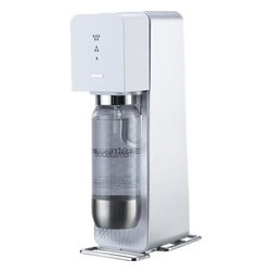 SodaStream® Soda Maker - Make your own refreshing sparkling water, flavored sodas and artisanal cocktail mixers while saving money and reducing your carbon footprint. From the world leader in home carbonation systems since 1903, this eco-friendly, convenient alternative to commercial sparkling water and soda turns tap water into fizzy drinks at your customized carbonation level in 30 seconds. Intuitive snap-lock mechanism means effortless preparation; compressed gas carbonators eliminate the need for electricity or batteries. Recyclable, toxin-free bottle with one-liter capacity features a special lid that keeps drinks fresh and fizzy much longer than store-bought bottles.