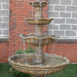 Outdoor Classics - Outdoor Classics 4-Tier Grand Courtyard Fountain -