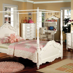 Furniture of America - Furniture of America Talia Pearl White 4-Piece Canopy Bed Set - Add a splash of elegance and true beauty to any little one's bedroom with this wonderfully extravagant canopy bed set. The pearl white finish emanates a fairy tale atmosphere while the hand-brushed gold accents accentuate the charmingly royal designs.