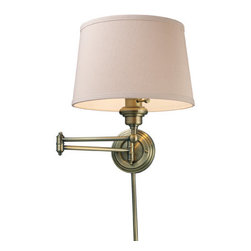 Elk Lighting - Elk Lighting 11220/1 Single Light Swing Arm Wall Sconce from the Westbrook Colle - Single light swing arm wall sconce from the westbrook collectionThe westbrook collection uses the swing arm concept on chandeliers, allowing the diameter to be adjusted to fit your decor. This unique feature puts light where you need it, when you need it. This fixture offers versatility coupled with a sleek design. Available in polished chrome with a white hardback shade or antique brass with a cream shade.Features :