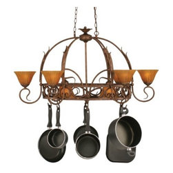 """Toltec - Toltec 216-BRZ-509 Bronze Finish 8-Light Pot Rack - Toltec 216-BRZ-509 Bronze Finish 8-Light Pot Rack with 8 Hooks with 7"""" Tiger Glass, Pots Not Included"""