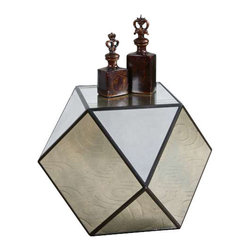 Uttermost Matty Mirrored Polygon Table - Aged black geometric angles with red undertones, faceted with antiqued mirrors. Aged black geometric angles with red undertones, faceted with antiqued mirrors.