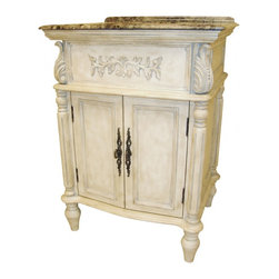 "L&K Designs - 26 Inch Traditional Single Sink Bathroom Vanity - The Florence 26"" Vanity features an off white finish with antiqued gray accents and tapered legs.  This vanity has 2 functional doors. Dimensions: 26""W X 22""D X 36""H (Tolerance: +/- 1/2""); Counter Top: Brown Emperador Marble; Finish: Off White with Antiqued Gray Accents; Features: 2 Doors, 1 Interior Shelf; Hardware: Antique Burnished Brass; Sink(s): 11.5"" X 15"" Oval Undermount Bisque Ceramic; Faucet: Pre-Drilled for Standard Three Hole 8"" Center (Not Included); Assembly: Fully Assembled; Large Cut Out in Back for Plumbing; Included: Cabinet, Sink; Not Included: Faucet, Backsplash, Mirror (25""W X 38""H)"