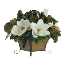 Winward Designs - Magnolia Arrangement Flower Arrangement - Elegant magnolia blossoms never go out of style, so why wait for spring to display them in your home? With a high-quality permanent arrangement, you can enjoy their beauty year-round. Place this in a dining room or powder room or on a coffee table for maximum impact.