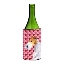 Caroline's Treasures - Fox Terrier Hearts Love and Valentine's Day Portrait Wine Bottle Koozie Hugger - Fox Terrier Hearts Love and Valentine's Day Portrait Wine Bottle Koozie Hugger Fits 750 ml. wine or other beverage bottles. Fits 24 oz. cans or pint bottles. Great collapsible koozie for large cans of beer, Energy Drinks or large Iced Tea beverages. Great to keep track of your beverage and add a bit of flair to a gathering. Wash the hugger in your washing machine. Design will not come off.