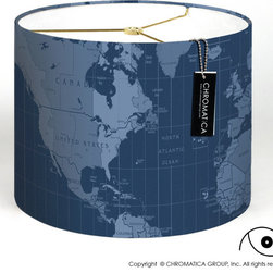 Drum Lamp Shade - The World in Blue. - - Made to order by hand.