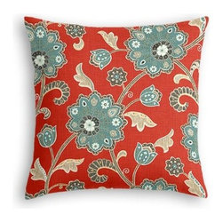 Red & Aqua Stylized Floral Custom Euro Sham - The secret to those perfectly made beds you eye in magazines? Euro shams. Complete your bed set with a set of Simple Euro Shams for a look that's as stylish as it is snuggly.  We love it in this funky stylized floral with bold bursts of teal and small hints of metallic gold and gray swirling across a cherry red cotton background.