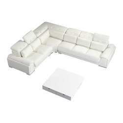 VIG Furniture - T93C White Top Grain Italian Leather Sectional Sofa With Adjustable Headrests - The beauty of this sectional sofa is that it can solve all your seating needs in one fell swoop. Placed in a corner, it manages to look sophisticated despite its size and won't overwhelm your room. The white grain leather seats and adjustable headrests will keep plenty of guests comfy and cozy and be a clean slate for colorful throws, pillows, artwork and accessories. Or you can keep your look fresh and bright with neutrals and soft pastels. This sectional is a blank canvas, waiting for your inspiration.