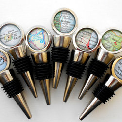 Custom Map Wine Bottle Stopper by Paper and Place - Map wine bottle stoppers make for a lovely hostess gift. Choose a city that commemorates a special event in that person's life.