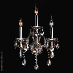 Worldwide Lighting Provence Wall Sconce W23103C13-GT - Worldwide Lighting Provence Collection 3 light Chrome Finish and Golden Teak Crystal Candle Wall Sconce Light