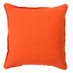 "Surya - Surya SL-003 18"" x 18"" Down Feathers Pillow Kit - Add a burst of casual color sure to impress throughout your home with this immaculate pillow! Featuring ornate orange coloring against a solid canvas, this piece radiates a cool and comfortable look that will easily translate from space to space. This pillow contains a zipper closure and provides a reliable and affordable solution to updating your home's decor."
