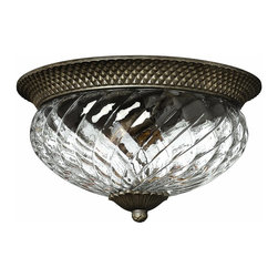 Hinkley Lighting - 4881PZ Plantation Flush Mount, Pearl Bronze, Clear Optic Glass - Traditional Flush Mount in Pearl Bronze with Clear Optic glass from the Plantation Collection by Hinkley Lighting.