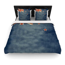 """Kess InHouse - Bruce Stanfield """"Flag of New Zealand"""" Blue Cotton Duvet Cover (Queen, 88"""" x 88"""") - Rest in comfort among this artistically inclined cotton blend duvet cover. This duvet cover is as light as a feather! You will be sure to be the envy of all of your guests with this aesthetically pleasing duvet. We highly recommend washing this as many times as you like as this material will not fade or lose comfort. Cotton blended, this duvet cover is not only beautiful and artistic but can be used year round with a duvet insert! Add our cotton shams to make your bed complete and looking stylish and artistic!"""