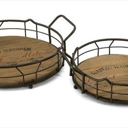 "Imax Worldwide Home - Traineur Serving Trays - Set of 2 - Reminiscent of oak barrels used to age wine, the Traineur serving trays has antiqued logo graphics and wrought iron wine bottle holders.; Country of Origin: China; Weight: 4.75 lbs; Dimensions: 4.-4.5""h x 14-16.25""w x 11.5-13.25""d"