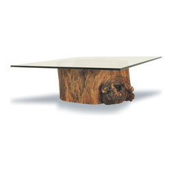 Hollow Trunk Coffee Table - Square - Coffee table base made of a hollow trunk from a tree that died naturally. It is the result of a natural process, which sometimes is started by a fungi or insect intrusion through a broken branch. After being attacked, a tree may still live for many years, even decades, until it becomes completely hollowed out inside. One-of-a-kind item.