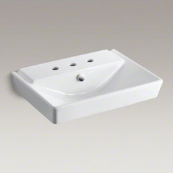 """KOHLER - KOHLER R�ve(R) 23"""" pedestal bathroom sink basin with 8"""" widespread faucet holes - With a geometric, V-shaped basin and contemporary styling, the 23-inch R�ve sink makes a striking focal point for your bathroom. Combine with the R�ve pedestal or wall-mount R�ve products for a dramatic ensemble."""