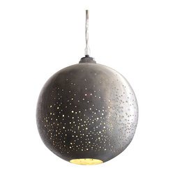 """Contstellation Pendant Lamp - 7.75"""" - A sparkling scatter of lights twinkle and shine from above with the Constellation Pendant lamp. Sturdy globes of raw iron perfectly perforated give the lamp its planetary glow. Ideal for a den or living room, staggering both sizes of these lamps in a corner by your favorite cozy chair lends itself to a stunningly simple, yet utterly gorgeous look that is never dated."""