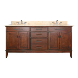 """Avanity - MADISON 72"""" Vanity Only (Tobacco) - MADISON 72"""" Vanity Only (Tobacco); Vanity only in Tobacco finish; 4 doors; 3 drawers; Birch solid wood and veneer; Old bronze finished hardware; 4 Soft-close doors; 4 adjustable shelves; 3 Soft-close drawers; Adjustable height levelers; Top, sink and faucet not included.; Dimensions: 72W x 21D x 34H inches"""
