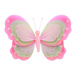 Bugs-n-Blooms - Butterfly Decorations Large Dark Pink Green Pink Hanging Triple Layered Butterfl - Hanging Triple Layered Butterfly - Beautiful nylon hanging kids wall or ceiling decor, baby decoration, childrens decorations.  Ideal for Baby Nursery Kids Bedroom Girls Room.  This gorgeous 3 layered wing butterfly is embellished with sequins, glitter and has a fabric body.  This pretty butterfly decoration is made with a soft bendable wire frame. Beautiful 3D hanging nursery, bedroom, birthday party, baby shower or wedding decor.  Includes a piece of fishing line and hoop for easy hanging to any wall or ceiling (removable if desired).  Sold individually.  Visit our store for more great items.  Additional sizes are available in various colors, please see store for details.  Please visit our store on 'How To Hang' for tips and suggestions.  Please note: Sizes are approximate and are handmade and variances may occur.  Price is per each butterfly (1) piece