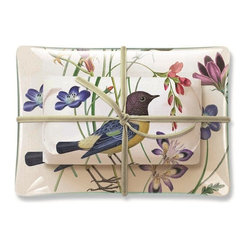 Fringe Studio - Studio Rectangle Meadow Tray and Soap Set - The perfect hostess gift when you're staying with friends or family, this transferware glass soap tray and scented soap, wrapped in coordinating paper, feature a songbird and delicate flowers. Gift boxed for easy gifting.