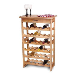 "Catskill Craftsmen - 36 Bottle Wine Rack - With its classic design, and beautiful simplicity this handsome wine rack will fit seamlessly into any home. This solid domestic hardwood wine rack maximizes bottle storage; it holds up to 36 bottles! Additionally, the bottle racks ensure that the cork is always wet to keep your wine at its peak. The handy drawer facilitates storage of cork screws, spare bottle stoppers, and the like. Features: -Hard lacquered top.-Utility drawer with metal handle.-Stores up to 36 bottles.-Constructed of solid North American hardwood.-Product Type: Wine Bottle Rack.-Finish: Natural.-Hardware Finish: Nickel plated.-Distressed: No.-Powder Coated Finish: No.-Material: Yellow Birch.-Hardware Material: Stainless steel.-Scratch Resistant: No.-Tarnish Resistant: No.-Wine Bottle Capacity: 36.-Weather Resistant or Weatherproof: No.-Number of Drawers: 1.-Lockable: No.-Handle Design: Pull Handle.-Shelves Included: Yes -Number of Exterior Shelves: 6..-Lighted: No.-Plug-In: No.-Removable Serving Tray Included: No.-Ice Bucket Included: No.-Wine Glass Storage Included: No.-Glasses Included: No.-Adjustable Levelers: No.-Stackable: No.-Foldable: No.-Removable Bottle Racks: No.-Commercial Grade Welding: No.-Bottle Size Compatibility: Standard.-Weight Capacity: 150 lbs.-Outdoor Use: No.-Commercial Use: No.-Recycled Content: No.-Eco-Friendly: Yes.-Product Care: Oil regularly with mineral oil.-Gloss Finish: No.-Solid Wood Construction: Yes.-Door Attachment Detail: No.-Refrigerated Cabinet: No.-Mirrored Back: No.Specifications: -UL Listed: No.-cUL Listed: No.-ISTA 3A Certified: No.-ISO 9000 Certified: No.-ISO 14000 Certified: No.Dimensions: -Overall Height - Top to Bottom: 40"".-Overall Width - Side to Side: 24"".-Overall Depth - Front to Back: 13"".-Shelves: -Shelf Height - Top to Bottom: 5.5"".-Shelf Width - Side to Side: 21.19"".-Shelf Depth - Front to Back: 13""..-Drawers: -Drawer Height -Top to Bottom: 3"".-Drawer Width - Side to Side: 18.25"".-Drawer Depth - Front to Back: 9""..-Overall Product Weight: 33 lbs.Assembly: -Assembly Required: Yes.-Tools Needed : Screwdriver & hammer.-Additional Parts Required : No.Warranty: -Product Warranty: 30 days unopened, unassembled and in original packaging. Replacement parts available for up to 5 years so long as the item is in production.."