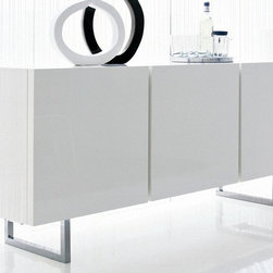 Calligaris - Seattle 3 Door Sideboard with Glass Shelves - Glossy white frame. 2 compartment buffet with three 1.625 in. thick doors. Push-pull doors - no handles. Includes 2 inner transparent tempered glass shelves. Length: 46.5 in. and 22.875 in.. Inner shelves can be adjusted in height (3 positions). Assembly required. Height from ground: 7.875 in.. 72.5 in. W x 20.75 in. D x 31.5 in. H
