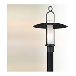 Troy Lighting - Carmel Post Light - Carmel Hanger Lantern features a hand-worked wrought iron frame with an opal white glass shade in a graphite finish. One 75-watt, 120 volt A19 medium base incandescent bulb is required, but not included. Dimensions: 16W x 21.5H.