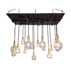 Industrial Lightworks - Mission Style Lighting - Mid-Century Modern Design, Brass - One of a kind mid century chandelier. Inspired by a combination of industrial, mid-century, and arts and crafts design. The pattern will vary per chandelier.