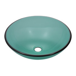 "MR Direct - Emerald Colored Glass Vessel Sink - The 601-Emerald glass vessel sink is manufactured using fully tempered glass. This allows for higher temperatures to come in contact with your sink without any damage. Glass is more sanitary than other materials because it is non-porous, will not absorb stains or odors and is easy to clean. This classic bowl-shaped vessel is made with emerald-tinted glass which can add a fun pop of color to any bathroom. A matching glass waterfall faucet is available to correspond with this sink. The overall dimensions for the 601-Emerald are  and an 18"" minimum cabinet size is required.  As always, our glass sinks are covered under a limited lifetime warranty for as long as you own the sink."