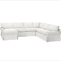 """PB Basic Right 4-Piece Chaise Sectional Slipcover, Denim Warm White - Designed exclusively for our PB Basic Sectional, these easy-care slipcovers have a casual drape, retain their smooth fit, and remove easily for cleaning. Select """"Living Room"""" in our {{link path='http://potterybarn.icovia.com/icovia.aspx' class='popup' width='900' height='700'}}Room Planner{{/link}} to select a configuration that's ideal for your space. This item can also be customized with your choice of over {{link path='pages/popups/fab_leather_popup.html' class='popup' width='720' height='800'}}80 custom fabrics and colors{{/link}}. For details and pricing on custom fabrics, please call us at 1.800.840.3658 or click Live Help. All slipcover fabrics are hand selected for softness, quality and durability. {{link path='pages/popups/sectionalsheet.html' class='popup' width='720' height='800'}}Left-arm or right-arm configuration{{/link}} is determined by the location of the arm on the love seat as you face the piece. This is a special-order item and ships directly from the manufacturer. To view our order and return policy, click on the Shipping Info tab above."""