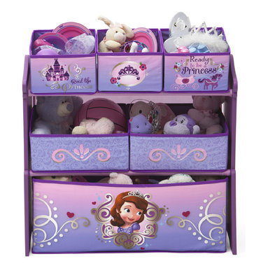 Adarn Inc - Children Girls Princess Colorful Fabric Removable Bins Toy Organizer Box - Princess-worthy meets practicality with this organizer! Featuring six uniquely sized fabric bins supported by a sturdy wood frame, it's finished with colorful illustrations of girl's. An enchanting option for easy organization of toys large and small, it encourages kids to clear clutter in record time. Meets all JPMA safety requirements. Some assembly required. Complements other items sold separately online by children's products.
