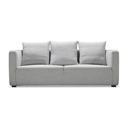 """Taylor sofa 80"""" - Three-seat Gray-Stone fabric - Taylor is a snappy, compact design adept at playing the lead in smaller living spaces, or a strong supporting role in a variety of interior styles.Its unique, one-piece seat cushion is divided by a single linear-seam, indented a few inches from the surface of the top seat. This subtle detail emphasizes the sofa's modern design pedigree while also accentuating its clean profile. The cushion itself is composed of high-resilience foam, topped with a thick cotton liner. The effect projects firmness, while the reality is remarkably soft.Taylor's loose back cushions are a supportive, supple blend of down feathers and cotton fiber. They're there to invite relaxation, but for a more minimal appearance, simply remove them. Or better, add an assortment of color throw pillows to adapt Taylor to any personal color palette.  The Grey-stone fabric is a light grey color.Taylor is available as a sofa, loveseat, and accent chair (each size-customizable). Purchase as a set - or mix and match with a variety of pieces. Dimensions: 80*37*35"""